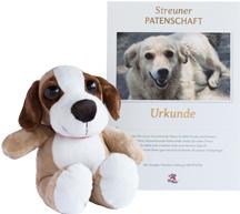 Plüsch-Hund als Ihr Patenschaftgeschenk